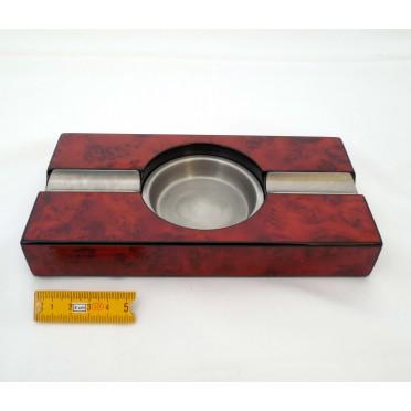 Cendrier cigare métal et bois rouge 2 fumeurs